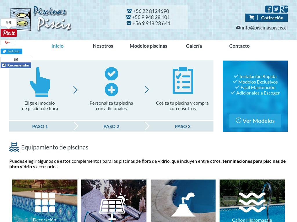 Fabricación de piscinas de fibra de vidrio en Santiafo