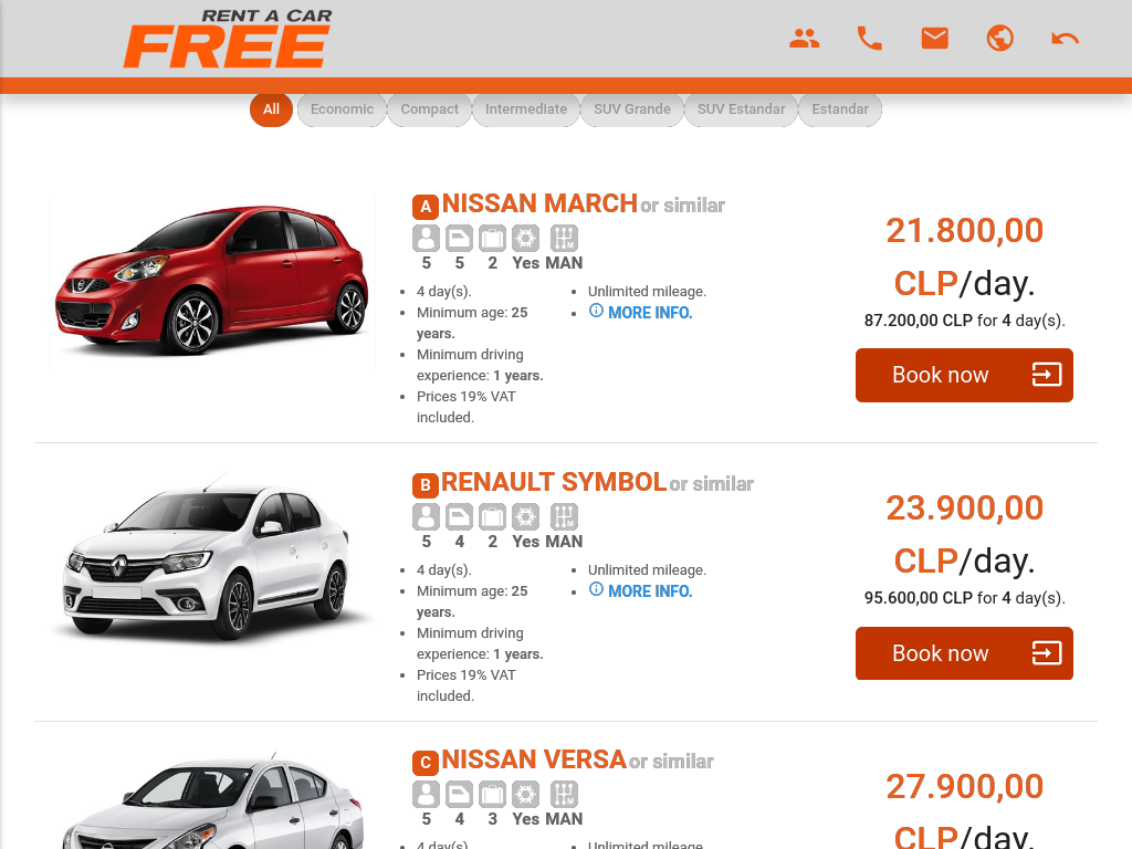 Cheap car rentals airport Chile